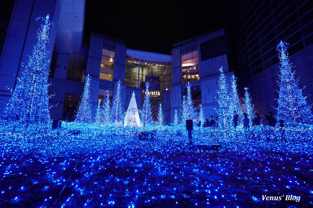【東京聖誕節】汐留Caretta青い精霊の森,夢幻的燈光秀