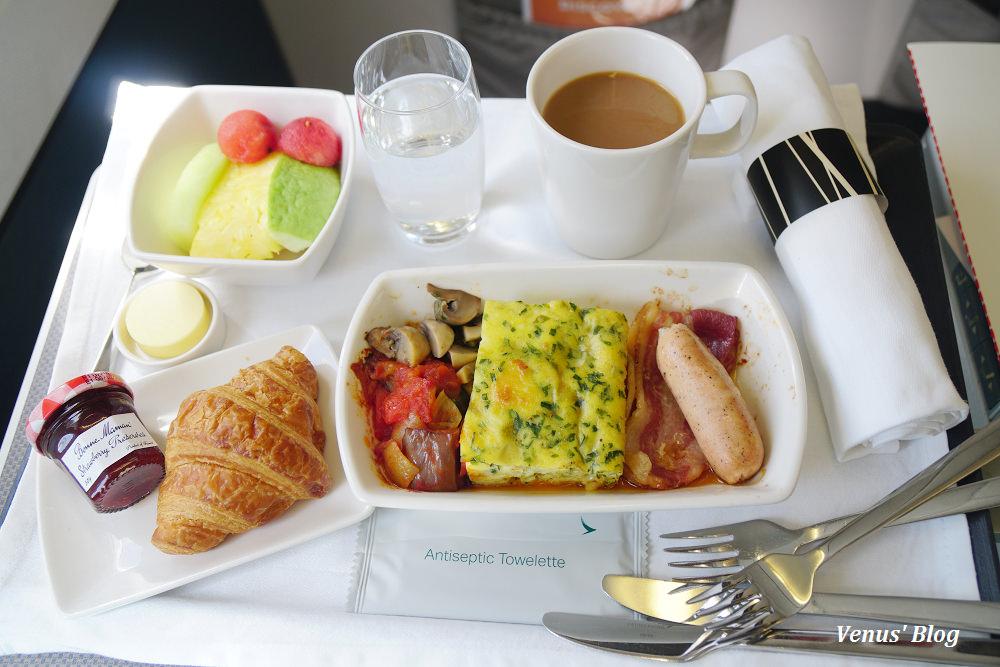 國泰航空台北飛香港商務艙A330,商務艙早餐 2017.03.19