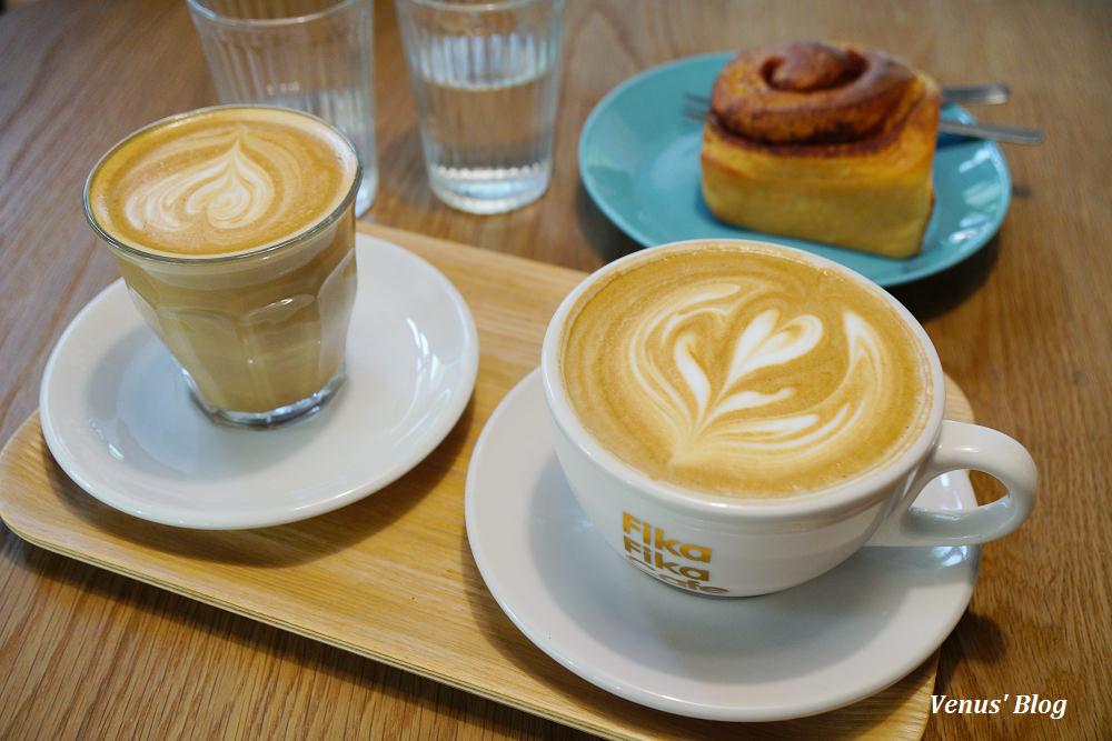 【內湖咖啡館】Fika Fika Cafe陽光店, Flat White跟拿鐵有何不同?吃得到Miss V的甜點跟招牌肉桂捲