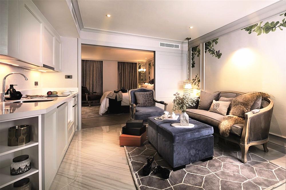 曼谷飯店推薦|薩里爾酒店,浪漫的英倫公主風套房,迷你廚房設計很貼心