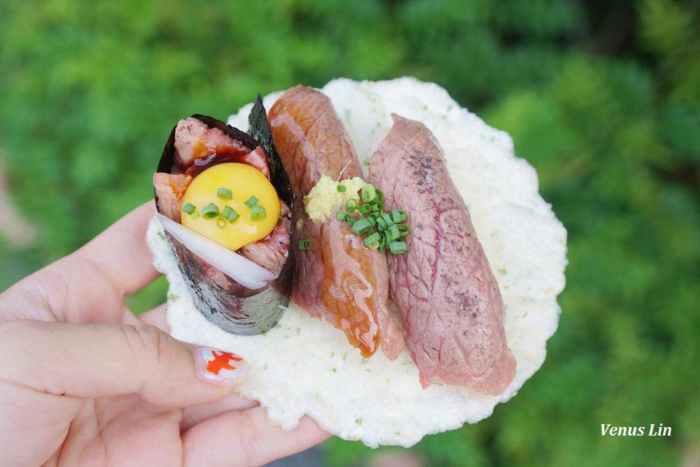 高山老街吃小吃,飛驒牛握壽司,飛驒牛包子,飛驒牛こって握壽司,牛まん喜八郎飛驒牛肉包