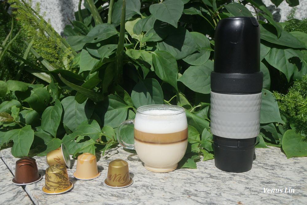 DUOPRESSO隨行膠囊咖啡機,USB充電、電動一鍵按壓就有濃縮咖啡、咖啡粉與咖啡膠囊通用
