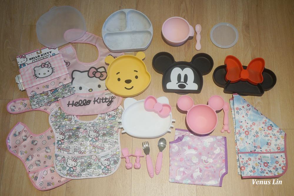 美國bumkins餐具+防水圍兜,拔不掉的餐盤跟碗,限量Hello Kitty跟迪士尼聯名系列